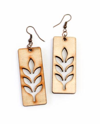 Нежни дървени обеци Листа със стоманени кукички Eco Friendly