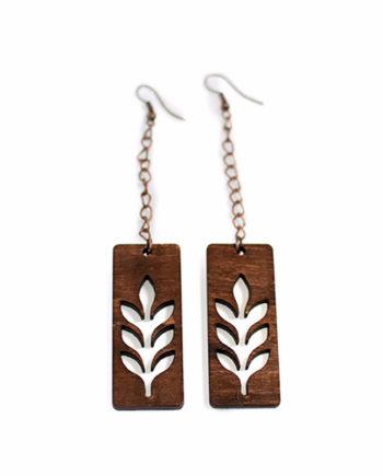 Нежни висящи дървени обеци Листа със стоманени кукички Eco Friendly
