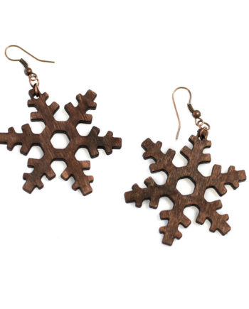 Свежи дървени обеци Снежинки със стоманени кукички Eco Friendly