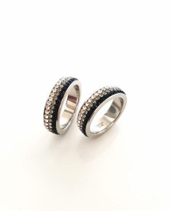 Елегантен пръстен с кристали Swarovski и висококачествена стомана Twillight Collection