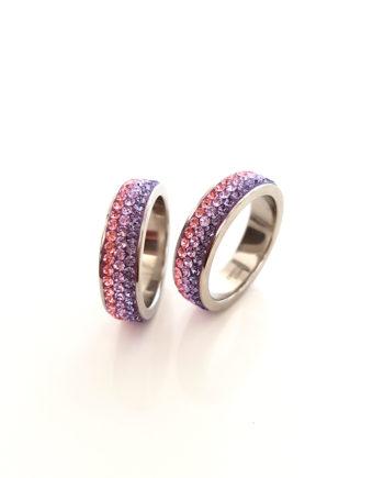 Стилен пръстен халка с кристали Swarovski и висококачествена стомана Twillight Collection