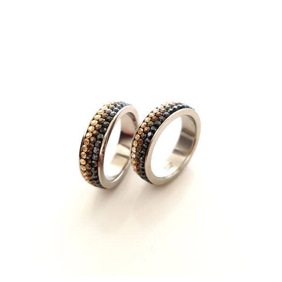 Модерен пръстен с кристали Swarovski и висококачествена стомана Twillight Collection