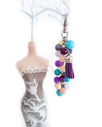 Цветен ключодържател/висулка за чанта с естествени камъни