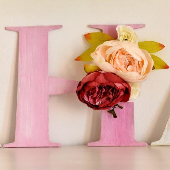 Обемни дървени букви - буква Н, с украса