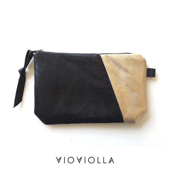 Кожено портмоне черно и златно за стил в деня Ви