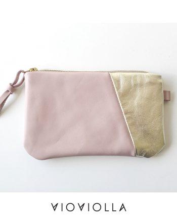 Стилно кожено портмоне в розово и златно