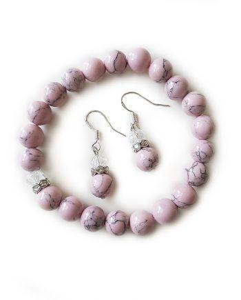 Комплект гривна и обеци от естествени камъни и кристали Сваровски