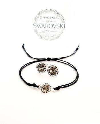 Комплект гривна и обеци - сребро и кристали Сваровски