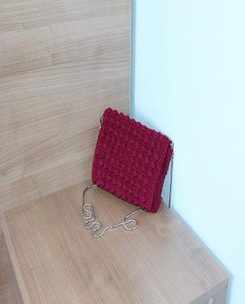 """Винено червена плетена дамска чанта """"Елеганс"""""""