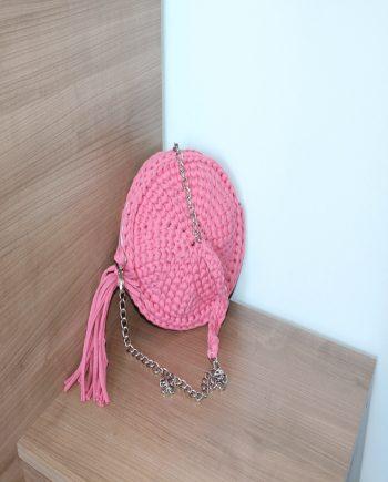 Розова плетена дамска чанта в кръгла форма