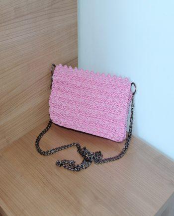 """Плетена нежна дамска чанта """"Розов елеганс"""""""