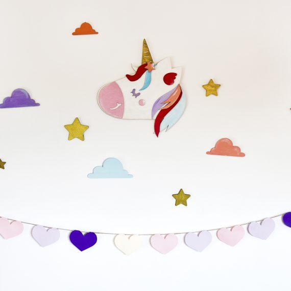 "Комплект стенна декорация за детска стая ""Еднорог"""