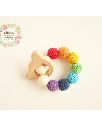 Бебешка гризалка с плетени топчета тип Дъга 1
