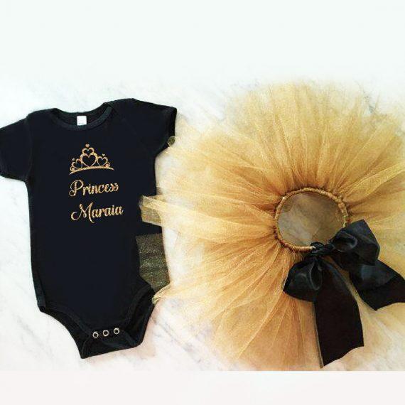 Туту комплект черно и златно с надпис име и коронка
