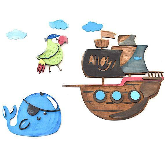 """Стенна декорация за детска стая """"Пиратски кораб"""""""