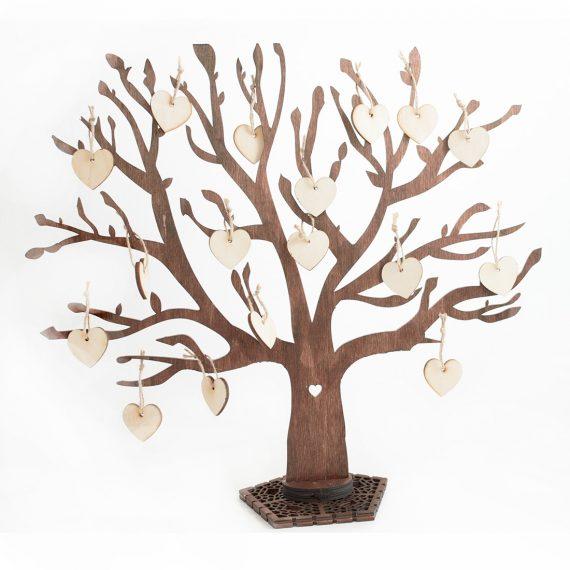 Сватбено декоративно дърво за пожелания с нежни сърца
