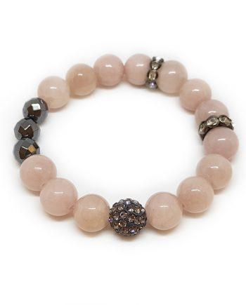 Гривна от естествени камъни жадеит, хематит и чешки кристали