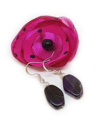 Красиви обеци с аметист, метално топче и сребърни кукички