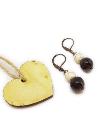 Стилни обеци с гранат, тюркоаз и чешки кристали