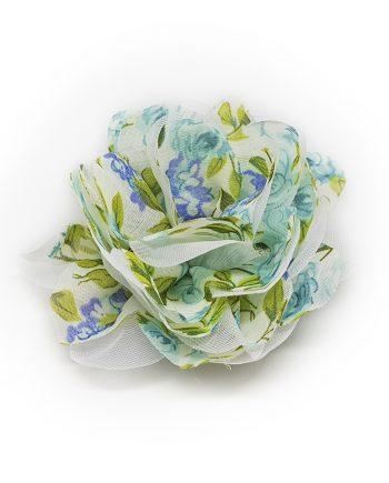 Красива текстилна брошка цвете в синьо-зелена гама