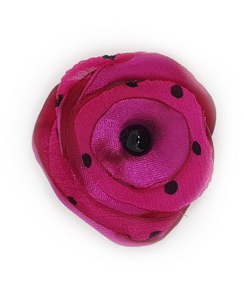 Нежна текстилна брошка цвете в цикламено и оникс