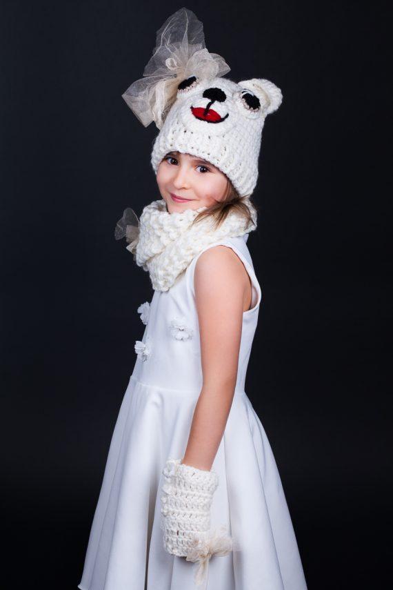 Красив детски комплект Мече в бежово-бяла гама