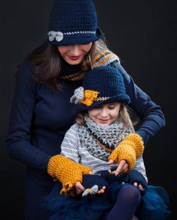 Ръчно изработен Аз и Мама комплект Елегантните в тъмно синьо, сиво и оранжево