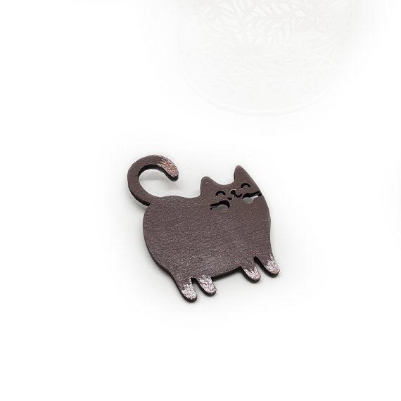 """Закачлива декоративна брошка """"Коте"""" в кафяво и бронз"""