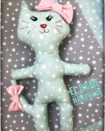 """Ръчно изработена играчка """"Коте"""" на звездички и с панделка"""