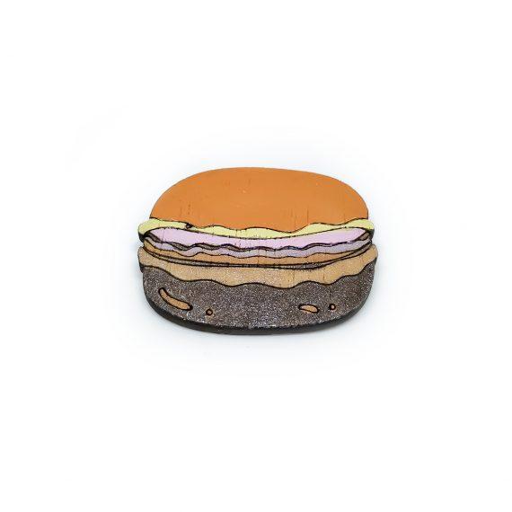 """Забавна дървена брошка """"Макарон"""" в оранжево и кафяво"""