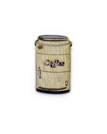 """Дървена брошка """"Кафе"""" с розов надпис и камък"""
