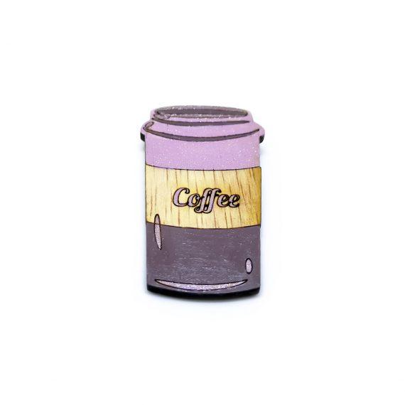 """Свежа дървена брошка """"Кафе"""" в розово и лилаво"""