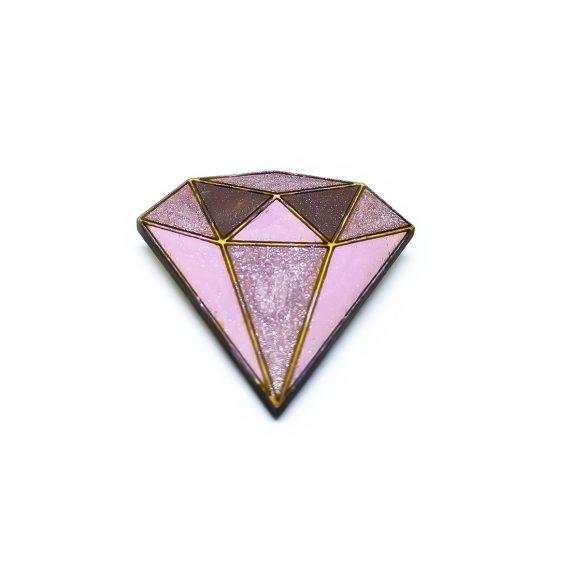 """Стилна дървена брошка """"Диамант"""" в розово и бордо"""