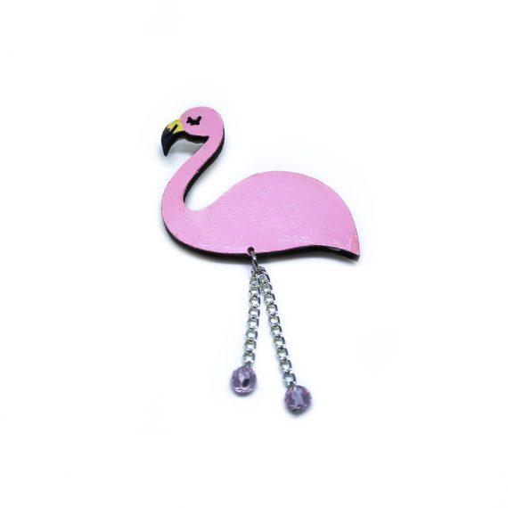 "Красива дървена брошка ""Фламинго"" в розово, с лилави кристали Swarovski"