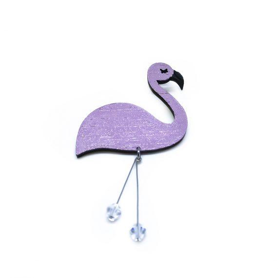 """Нежна дървена брошка """"Фламинго"""" в бледо лилаво и с кристали Swarovski"""
