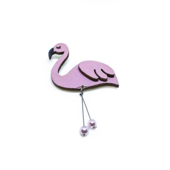 """Ефирна дървена брошка """"Фламинго"""" в розово с перли"""