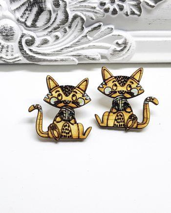 """Нежен комплект """"Коте"""", пръстен и обеци"""