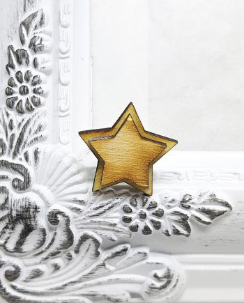 """Симпатичен дървен пръстен """"Звездичка"""" в натурален цвят"""