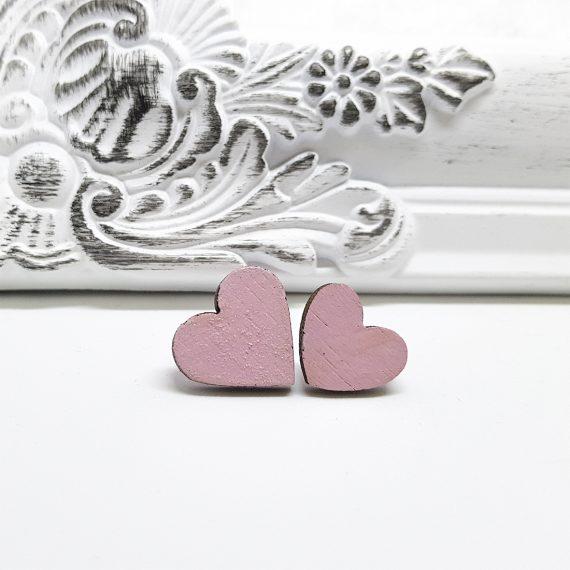 """Нежни обеци от дърво """"Сърце"""" в розово"""