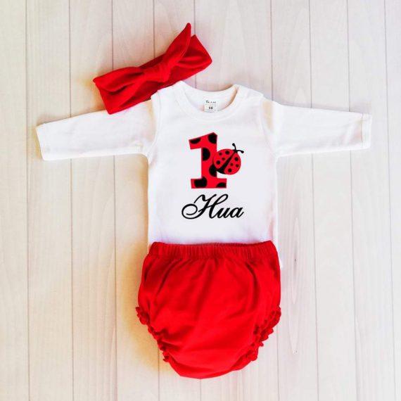 Комплект боди, долнище и лента за глава в бяло и червено