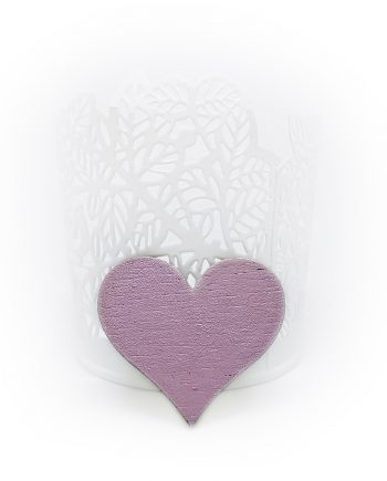 """Нежна дървена брошка """"Сърце"""" в розово"""