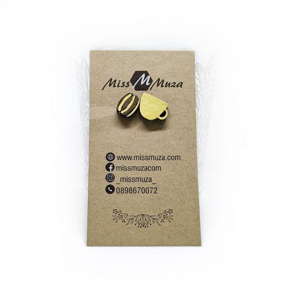 """Закачливи дървени обеци """"Ароматно кафе"""" в жълто"""