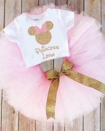Туту комплект в нежно розово и златиста панделка, с Мини Маус