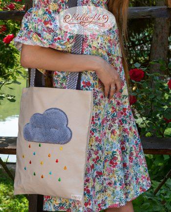 """Памучна чанта """"Облаче и бродерия Цветен дъжд"""""""