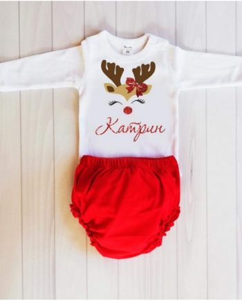 Коледен комплект боди и долнище в червено и бяло / различни картинки