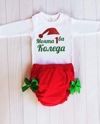 Коледен комплект в червено, бяло и зелена панделка / различни картинки