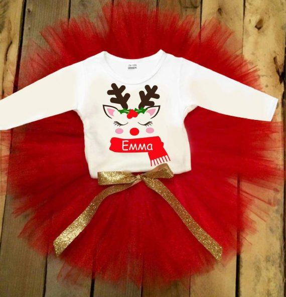 Коледен туту комплект с блуза в бяло, червено и златна панделка / различни картинки