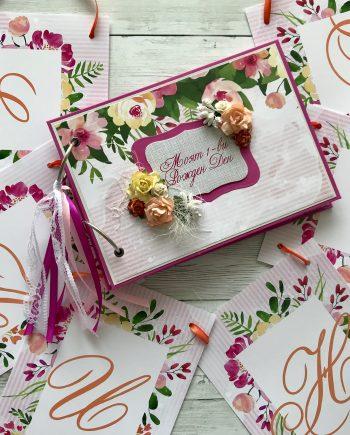 Подаръчен комплект за моминско парти - банер с името на булката+книга за пожелания