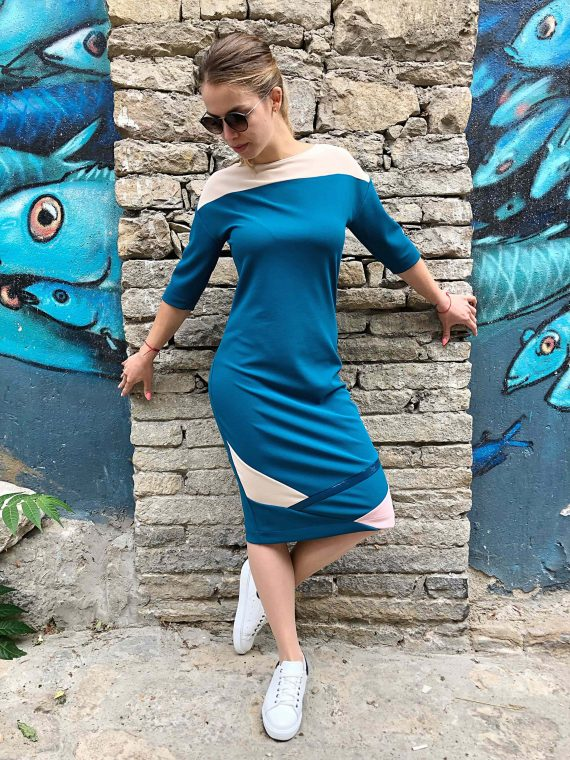 """Стилна дaмска рокля """"Blue Geometric"""""""