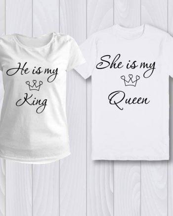 Комплект две тениски с надпис - He is my King/She is my Queen